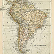 Map Of South America 1875 Art Print