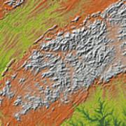 Map Of Southern Appalachia Art Print
