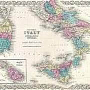 Map Of Southern Italy Sicily Sardinia And Malta Art Print
