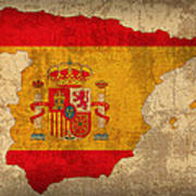 Map Of Spain With Flag Art On Distressed Worn Canvas Art Print