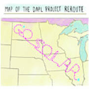 Map Of The Dapl Project Reroute Art Print