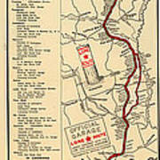 Map Of The Lone Star Route 1922 Art Print