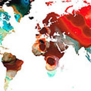 Map Of The World 5 -colorful Abstract Art Art Print
