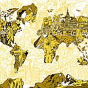 Map Of The World Collage  Art Print