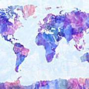 Map Of The World Map Watercolor Painting Art Print by Michael Tompsett