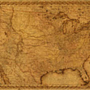 Map Of United States Of America Vintage Schematic Cartography Circa 1855 On Worn Parchment  Art Print