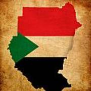 Map Outline Of Sudan With Flag Grunge Paper Effect Art Print