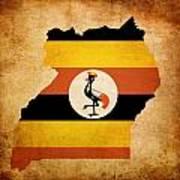 Map Outline Of Uganda With Flag Grunge Paper Effect Art Print