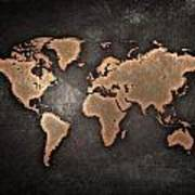 Map  The Continents  Grunge Art Print