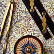 Map With Compass Tools Art Print