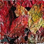 Maple Leaves Cracked Square Art Print