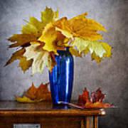 Maple Leaves In Blue Vase  Art Print