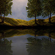 Maples In Moonlight Reflections Art Print