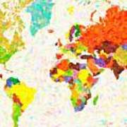 maps pointilism World Map with leaves Art Print