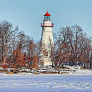 Marblehead Lighthouse In Winter Art Print