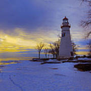 Marblehead Lighthouse Winter Sunrise Art Print