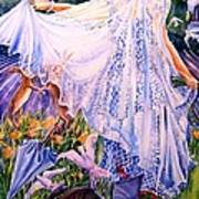 March Bride With Boxing Hares  Art Print by Trudi Doyle