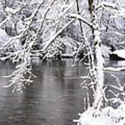 March Snow On The River Art Print