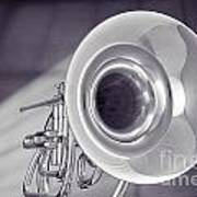 Marching French Horn Antique Classic In Sepia 3425.01 Art Print