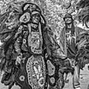 Mardi Gras Indian Monochrome Art Print
