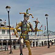 Mardi Gras Jester And River Boat Art Print