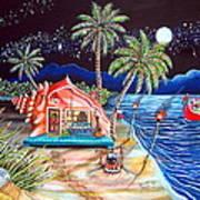 Margaritaville Conch Christmas Art Print by Abigail White