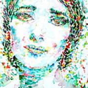 Maria Callas - Watercolor Portrait.1 Art Print