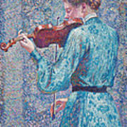 Marie Anne Weber Playing The Violin  Art Print