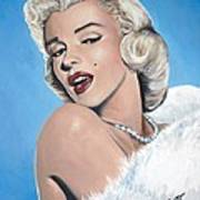 Marilyn Monroe - Blue Backround Art Print