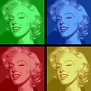 Marilyn Monroe Colored Frame Pop Art Art Print by Daniel Hagerman