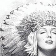 Marilyn Monroe In Headdress Pencil Portrait Art Print