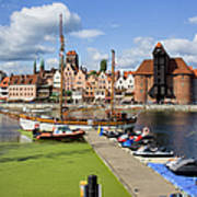 Marina And Old Town Of Gdansk Skyline Art Print