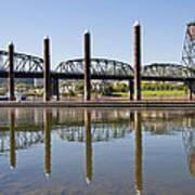 Marina By Willamette River In Portland Oregon Art Print