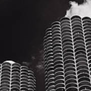 Marina City Morning B W Print by Steve Gadomski