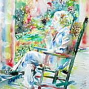 Mark Twain Sitting And Smoking A Cigar - Watercolor Portrait Art Print by Fabrizio Cassetta