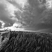 Marker - Black And White Photo Of Stone Marker And Brewing Storm In Kansas Art Print