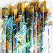 Marker Sketch Of Artist's Brushes Art Print