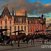 Markt Square At Dusk In Bruges Art Print