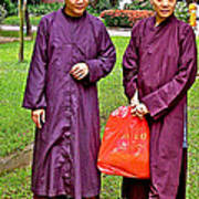 Maroon-robed Monks At Buddhist University In Chiang Mai-thailand Art Print
