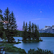 Mars Over Mt. Rundle Art Print