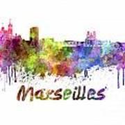 Marseilles Skyline In Watercolor Art Print