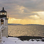 Marshall Point Lighthouse In Winter Maine  Art Print