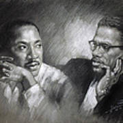 Martin Luther King Jr And Malcolm X Art Print