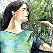 Mary In The Garden Art Print
