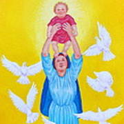 Mary Offers Her Child Jesus To His Father Art Print