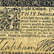 Maryland Bank Note, 1774 Art Print