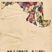 Maryland Map Vintage Watercolor Art Print