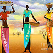 Masai Women Quest For Grains Art Print