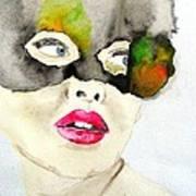 Mask In Watercolor Art Print