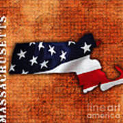Massachusetts American Flag State Map Art Print